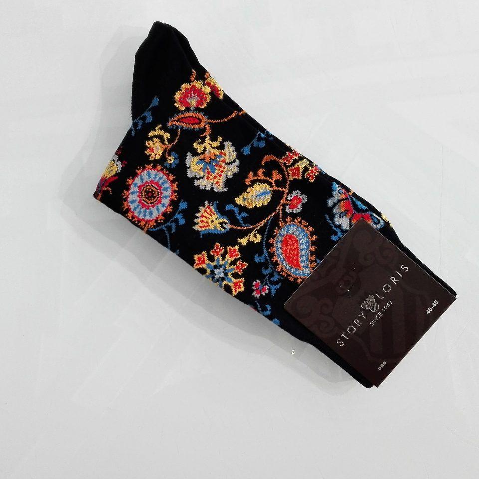Calcetines-estampado-flores-fondo-azul-hombre-original-divertidos-Story-Loris-1