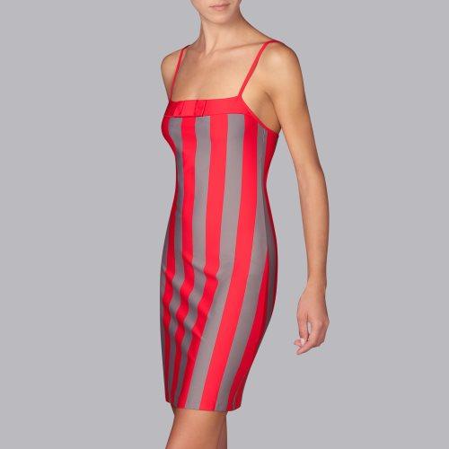 Vestido-midi-tirante-estrecho-escote-recto-lazo-franjas-verticales-bicolor-rojo-gris-azura-andres-sarda-2